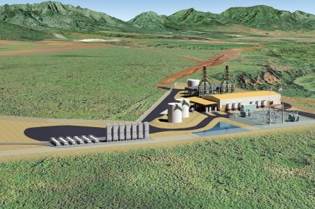 An artist has sketched the proposed 50-megawatt, multi-fuel, biofuel-capable power plant for Schofield Barracks.