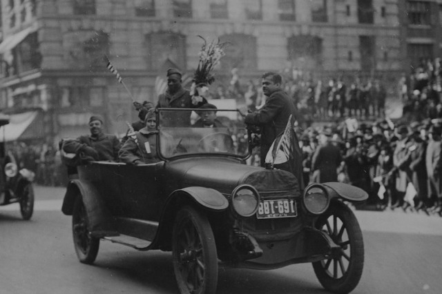 Sgt. Henry Johnson and the Harlem Hellfighters parade through New York in February 1919.