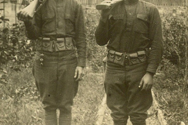 Sgt. William Shemin, right, poses with a fellow Soldier.