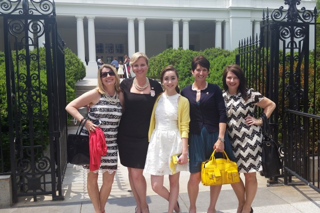Michele Bajakian, second from left; her daughter Hannah Bajakian, center; and other Fisher House runners arrive at the White House for the annual Mother's Day Tea. This year, military moms were recognized at the event. Bajakian was invited to the event to represent the Fisher House Foundation. From left are Patricia Eassa, Michele Bajakian, Hannah Bajakian, Jennifer Vedder and Stacy Tyler.