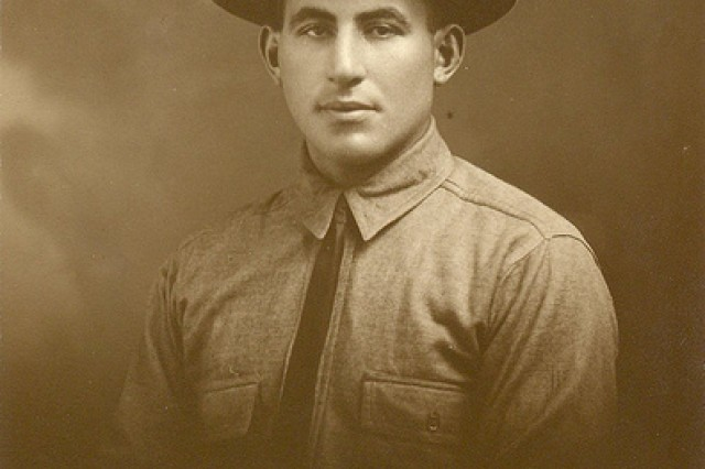 Sgt. William Shemin portrait in campaign hat.