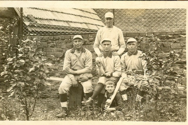 Photo of William Shemin (left) with baseball teammates.