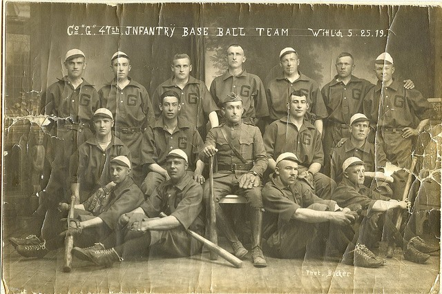 Photo of William Shemin (second row, second from the right) with 47th Infantry Co. G baseball team.
