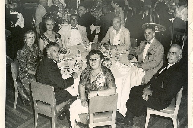 Photo of William Shemin (far right) at the Army-Navy Legion of Valor Convention, 1940s.