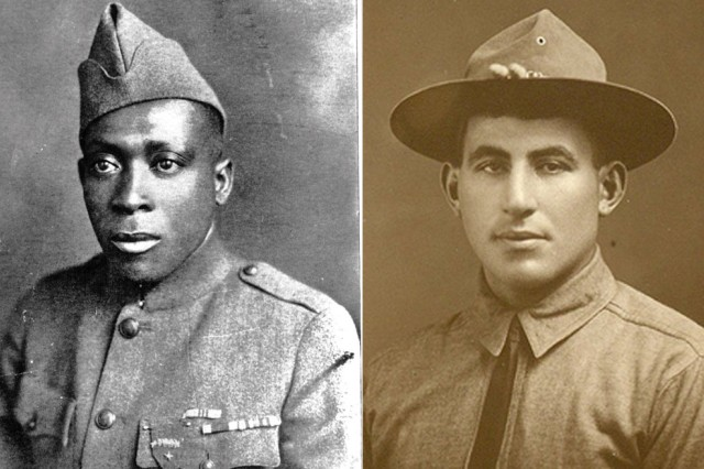 Sgt. William Henry Johnson, left, of the 369th Infantry Regiment, and Sgt. William Shemin, with the 4th Infantry Division, are to posthumously receive the Medal of Honor for valorous acts during World War I.