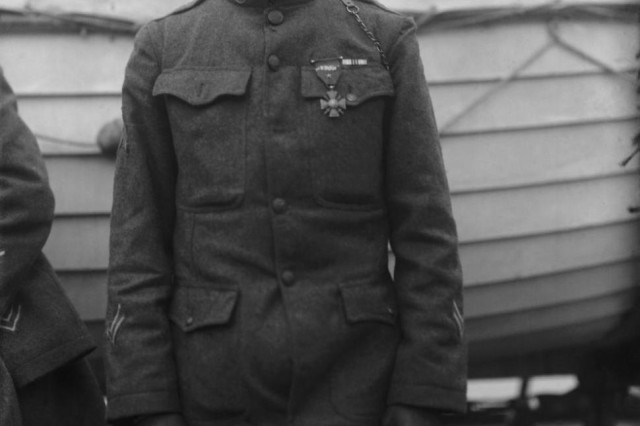 Sgt. Henry Johnson of the 369th Infantry Regiment was awarded the French Croix de Guerre for bravery during an outnumbered battle with German soldiers, Feb. 12, 1919.