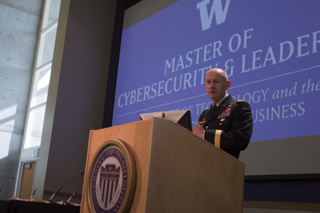 Lt. Gen. l Edward C. Cardon, commander of the U.S Army Cyber Command, addresses an audience of government, business and education cyber professionals at the University of Washington-Tacoma, Wash., on May 5, 2015. Cardon was one of the keynote speakers at the Northwest Cybersecurity Symposium, which was coordinated to bring various sectors of businesses and government together to discuss the safeguarding of the nation's infrastructure and network systems. (U.S. Army photo by Staff Sgt. Micah VanDyke, 19th Public Affairs Detachment)