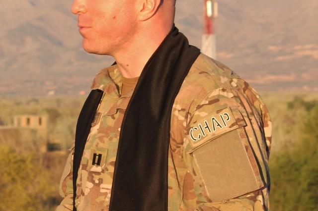 "Capt. John McDougall, 2d Ranger Battalion, speaks with fellow Rangers who inspired him to publish, ""Jesus was an Airborne Ranger"". (Photo courtesy of Capt. John McDougall)"