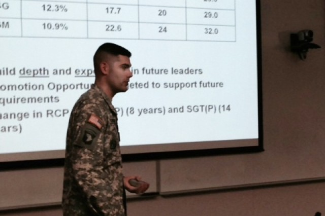 Sgt. Maj. Michael Barbieri, branch sergeant major with U.S. Army Human Resources Command's Enlisted Personnel Management Directorate, briefs military police Soldiers on broadening and career planning during outreach at the U.S. Military Academy at West Point, N.Y., Nov. 4, 2014.