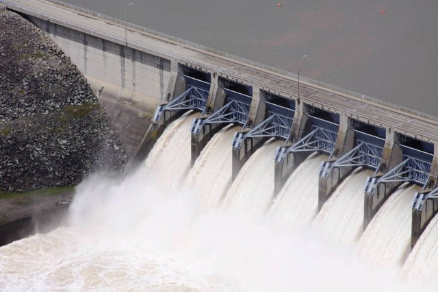 Eufaula Dam releases water after recent rainfall. (Photo by Ed Johnson, Tulsa District)