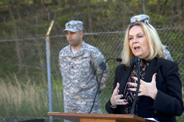 Patricia C. Pope speaks during the Merlin G. Pope Jr. Outstanding Equal Opportunity Noncommissioned Officer of the Year ceremony May 2 at Fort Meade, Maryland. Merlin G. Merlin Pope, Patricia's husband, was a Vietnam veteran and an equal opportunity practitioner who advocated for equal rights and diversity in the corporate world before his death in 1998.