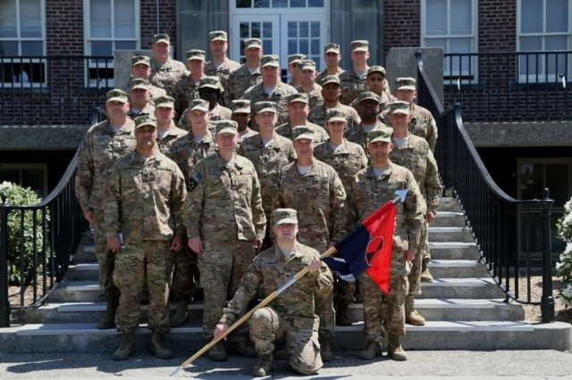 Soldiers with 7th Infantry Division gather outside of their headquarters building, May 18. As part of Task Force Bayonet, they will assume responsibility from the 1st Cavalry Division June 10, taking on the Security Forces Assistance mission as well as support of Operation Resolute Support.