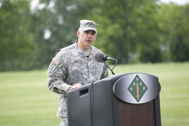 Brig. Gen. JB Burton speaks at the 20th CBRNE Command (Chemical, Biological, Radiological, Nuclear, Explosives) change of command ceremony on Aberdeen Proving Ground, Md., May 20.  Burton commanded 20th CBRNE from May 2013 to May 2015.
