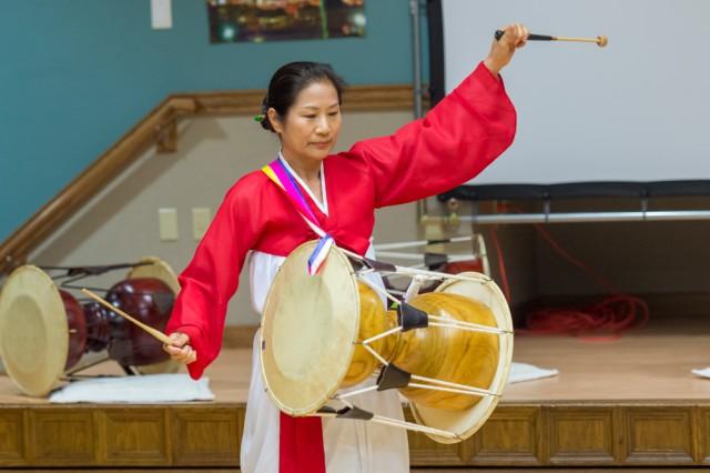 A member of the Pulaski County Korean-American Association provides a traditional Korean drum performance.