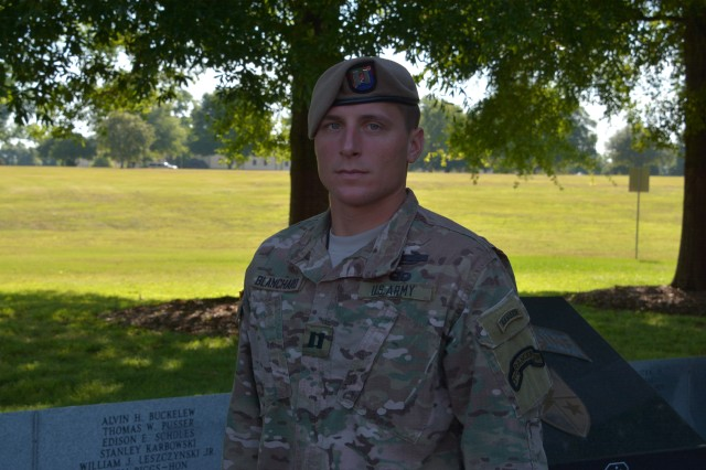 Capt. Michael Blanchard, 3rd Battalion, 75th Ranger Regiment, was recognized as the 2015 Col. Ralph Puckett Leadership Award recipient during a ceremony at Fort Benning, May 21.