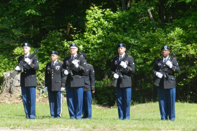 The 20th CBRNE Command Rifle Squad participates in the Memorial Day Ceremony May 25 at the Edgewood Area Cemetery on Aberdeen Proving Ground, Maryland.