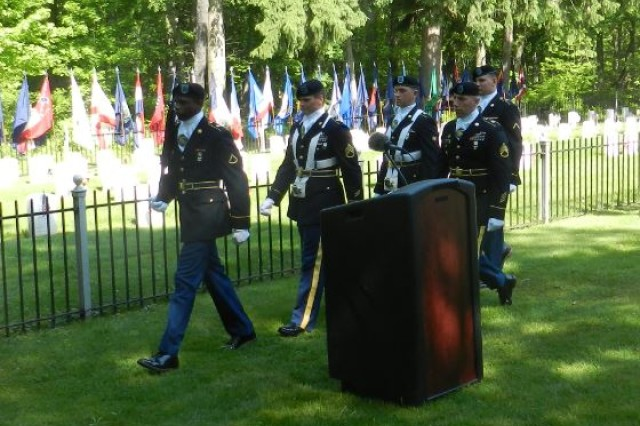 The 20th CBRNE Command Color Guard participates in the Memorial Day Ceremony May 25 at the Edgewood Area Cemetery on Aberdeen Proving Ground, Maryland.