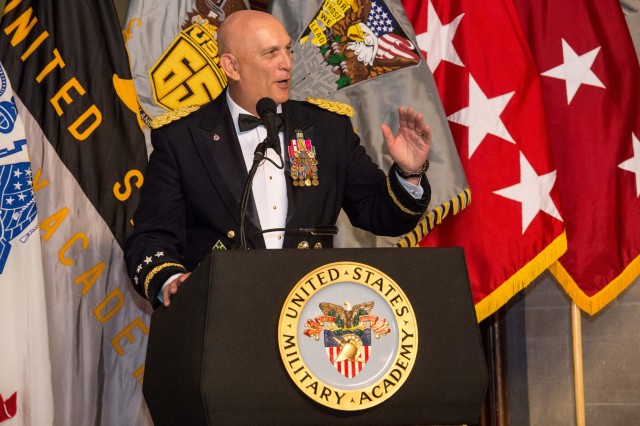 U.S. Army Chief of Staff, Gen. Ray Odierno makes his remarks as guest speaker of United States Military Academy's class of 2015 graduation banquet at West Point, NY, May 22, 2015. The Cadets will become Commissioned Officers in the U.S. Army following the graduation ceremony May 23rd.  (U.S. Army photo by Staff Sgt. Steve Cortez/ Released)