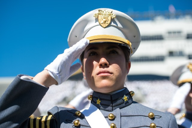 United States Military Academy Cadets of graduating class of 2015 render a salute during the playing of the National Anthem at their graduation and commissioning ceremony at West Point, NY, May 23, 2015.  (U.S. Army photo by Staff Sgt. Steve Cortez/ Released)