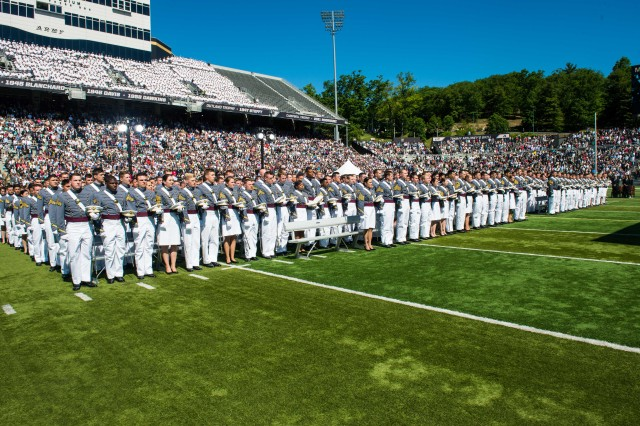 United States Military Academy Cadets of graduating class of 2015 stand at the middle of Michie Stadium during their graduation and commissioning ceremony in West Point, NY, May 23, 2015.  (U.S. Army photo by Staff Sgt. Steve Cortez/ Released)