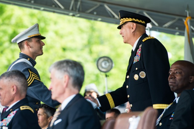 U.S. Army Chief of Staff, Gen. Ray Odierno congratulates United States Military Academy's class of 2015 graduating Cadets during a graduation and commissioning ceremony at West Point, NY, May 23, 2015.  (U.S. Army photo by Staff Sgt. Steve Cortez/ Released)