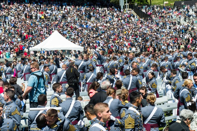 United States Military Academy Cadets of graduating class of 2015 and their family celebrate at the completion of their graduation and commissioning ceremony at West Point, NY, May 23, 2015.  (U.S. Army photo by Staff Sgt. Steve Cortez/ Released)