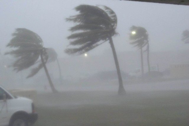 Typhoon Dolphin pounds Andersen Air Force Base, Guam, with 100 mph sustained winds, May 15, 2015.