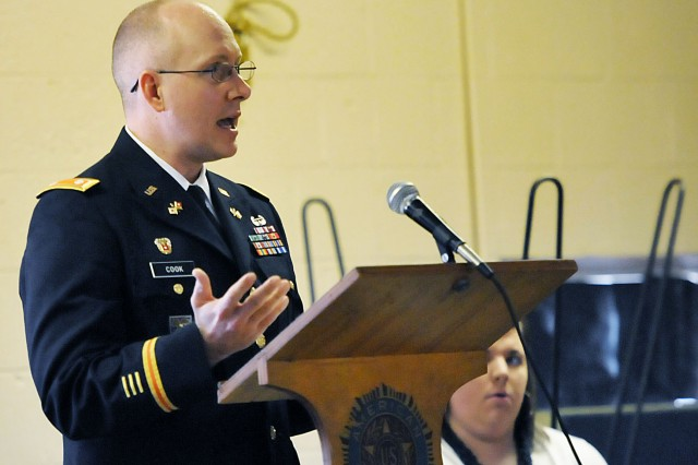 Lt. Col. Brad Cook, U.S. Army Sustainment Command, gives remarks during a ceremony in Preston, Iowa, May 25. Cook is the interim director of Information Management (G-6).  (Photo by Jon Micheal Connor, ASC Public Affairs)