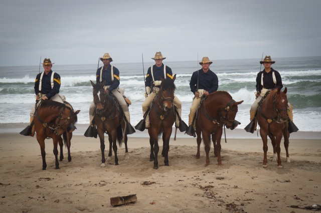 11th Armored Cavalry Regiment Horse Detachment on a beach ride at the Salinas River State Beach in Marina, California 8 May. (Photo by Capt. Christinea Wagner, 11th ACR Public Affairs)