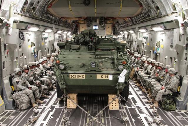 Raider Brigade Strykers meet the Globemaster III