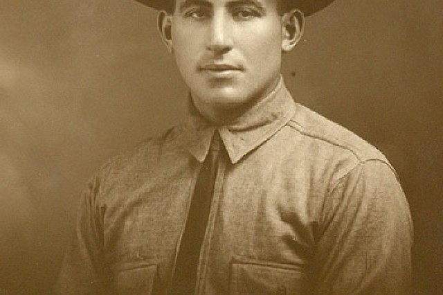 Portrait of Sgt. William Shemin in campaign hat is shown.