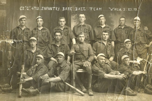 William Shemin, second row, second from the right, is shown with the 47th Infantry Co. G baseball team.