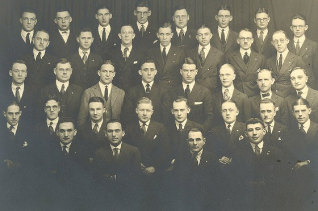 William Shemin, first row, right, and the first graduating class of New York State Ranger School, 1914, is shown.