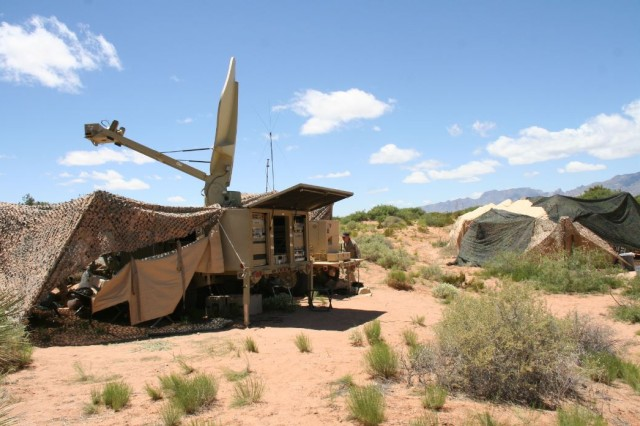 The Army demonstrates a new command post wireless solution, which provides Wi-Fi to the command post leveraging Warfighter Information Network-Tactical Increment 1 satellite equipment, during Network Integration Evaluation 15.2 on Fort Bliss, Texas, in May 2015.