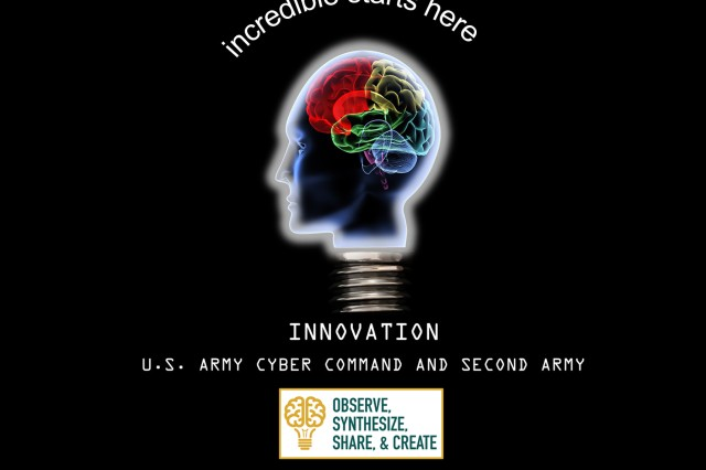 U.S. Army Cyber Command's Innovation program is the result of ARCYBER leadership's desire to construct a process to tap into the wealth of individual and collective knowledge in the minds of members of the command and its affiliated organizations, to root out and share good ideas and bring them to life. (Illustration by Clifford Thompson)