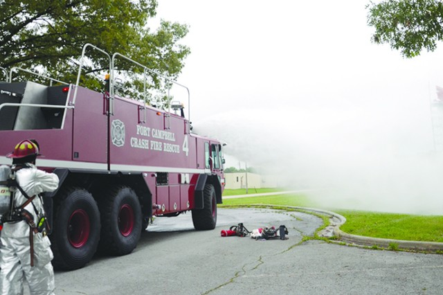 The Fort Campbell Fire Department helped contain a notional fuel tanker fire during the full-scale weather-related exercise on post Tuesday. The fire department played a major role in the initial response to the simulated effects of an F-3 tornado touchdown at Fort Campbell.