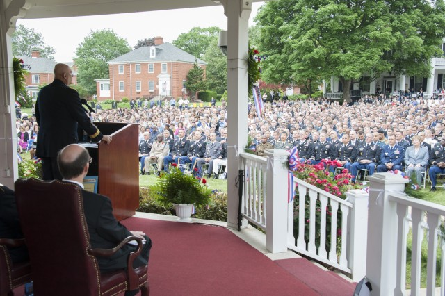 Army Chief of Staff Gen. Raymond T. Odierno honored the graduating Army War College Class of 2015 with formal remarks  at a cool and colorful ceremony today on the historic parade ground of 258- year old Carlisle Barracks, Pa.