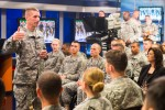 Sgt. Maj. of the Army Daniel A. Dailey discusses Soldier evaluation, education and compensation during an Army birthday town hall meeting with Soldiers at Defense Media Activity on Fort Meade, Md., June 4, 2015.