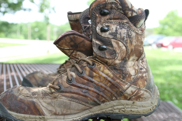 A pair of boots worn by Chaplain (Capt.) Stacy Beasley, 5th Engineer Battalion, 4th Maneuver Enhancement Brigade, during his stay on Mona Island, Puerto Rico, late last year. The boots' condition tell the story of Mona Island, considered some of the most inhospitable terrain in the northern hemisphere.