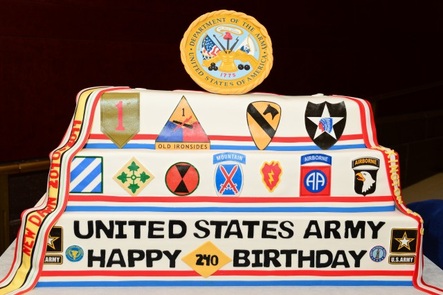 A ceremonial cake is displayed for the 240th Army Birthday Capitol Hill cake-cutting ceremony at the U.S. Capitol Visitors' Atrium in Washington, D.C., June 10, 2015.