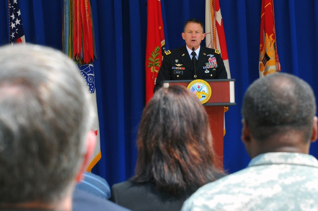 Army Vice Chief of Staff Gen. Daniel Allyn addresses the audience in the Pentagon courtyard in celebration of the Army's 240th birthday on June 11, 2015. The standing Army was created by the Continental Congress on June 14, 1775, more than a year before the U.S. Constitution was ratified on July 4, 1776.