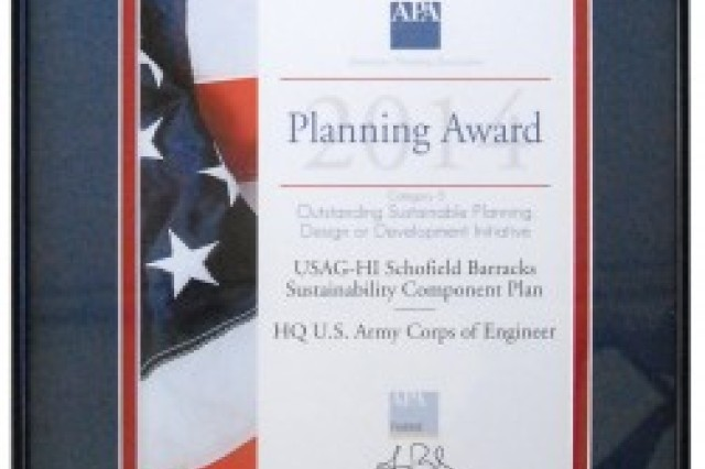 The Directorate of Public Works' APA award is pictured.