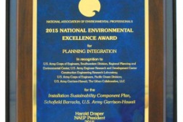 The Directorate of Public Works' NAEP award is pictured.