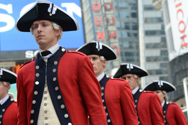 The Army celebrates its 240th birthday with events in Times Square, New York, that included a performance by the Old Guard Fife and Drums Corps.