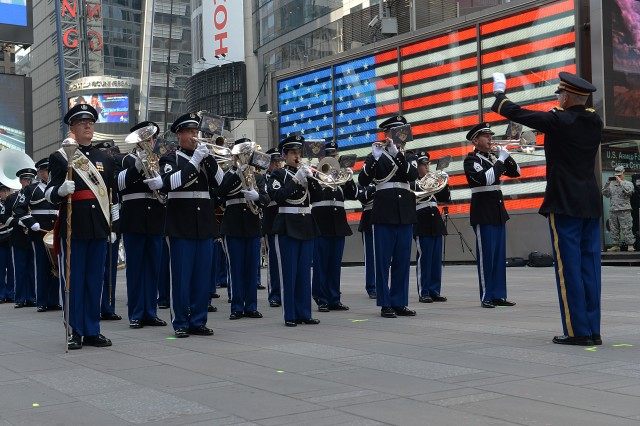The U.S. Army band performs during the Army's 240th birthday celebration in Times Square.