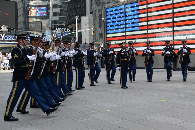 The Drill Team performs during the Army's 240th birthday celebration in New York's Times Square.