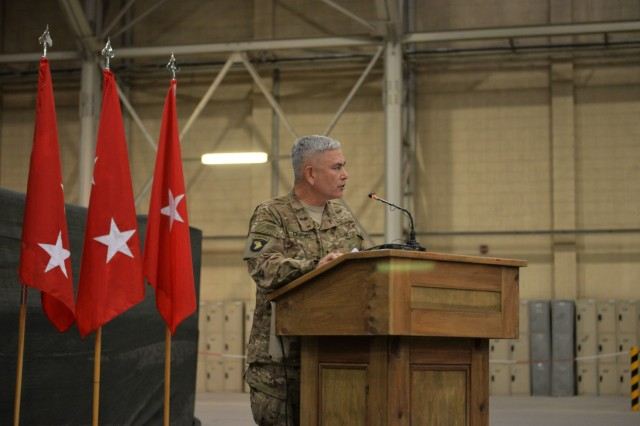 Gen. John Campbell, the commander of Resolute Support, speaks to the audience during a transfer of authority ceremony at Kandahar Airfield, Afghanistan, June 10, 2015. The 7th Infantry Division, Combined Joint Task Force - 7, under the command of Brig. Gen. Paul Bontrager, assumed responsibility for Train, Advise and Assist Command - South from the 1st Cavalry Division, Combined Joint Task Force - 1. (U.S. Military photo by Tech. Sgt. Robert Sizelove/Released)