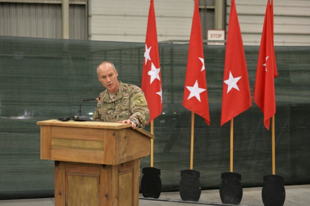 Brig. Gen. Paul Bontrager, the commander of the 7th Infantry Division and incoming commander of Train, Advise and Assist Command - South, speaks during a transfer of authority ceremony at Kandahar Airfield, Afghanistan, June 10, 2015. The 7th Infantry Division, Combined Joint Task Force - 7, assumed responsibility for Train, Advise and Assist Command - South from the 1st Cavalry Division, Combined Joint Task Force - 1. (U.S. Military photo by Tech. Sgt. Robert Sizelove/Released)