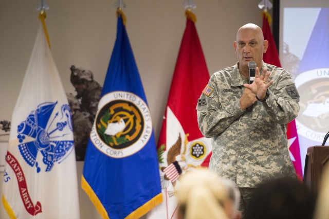 Army Chief of Staff Gen. Ray Odierno addresses the workforce of the U.S. Army Program Executive Office, Simulation, Training and Instrumentation during a town hall in Orlando, Fla., June 15, 2015.