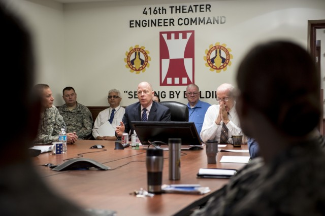 James Balocki (center), chief executive officer and director of services and installations, Office of the Chief of Army Reserve, visits with command and staff leaders from the 416th Theater Engineer Command at their headquarters in Darien, Ill., June 16. Balocki oversees the Army Reserve's 12,000 civilian employes and manages the technological and physical infrastructure and military construction support for the 200,000-strong command. (U.S. Army photo by Sgt. 1st Class Michel Sauret)